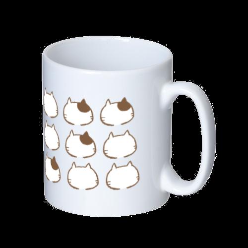 猫の整列 マグカップ  ホワイト