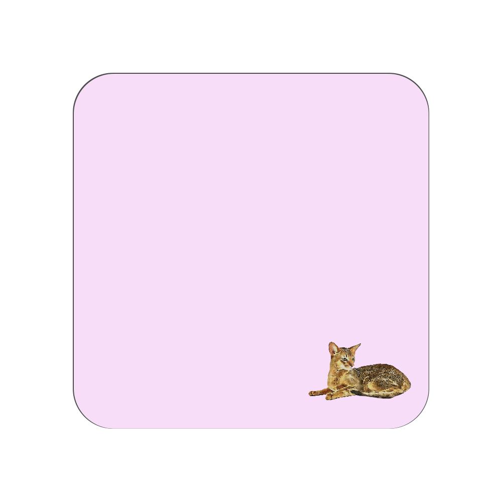アビシニアン猫のタオルハンカチ ピンク 全面プリントハンカチタオル