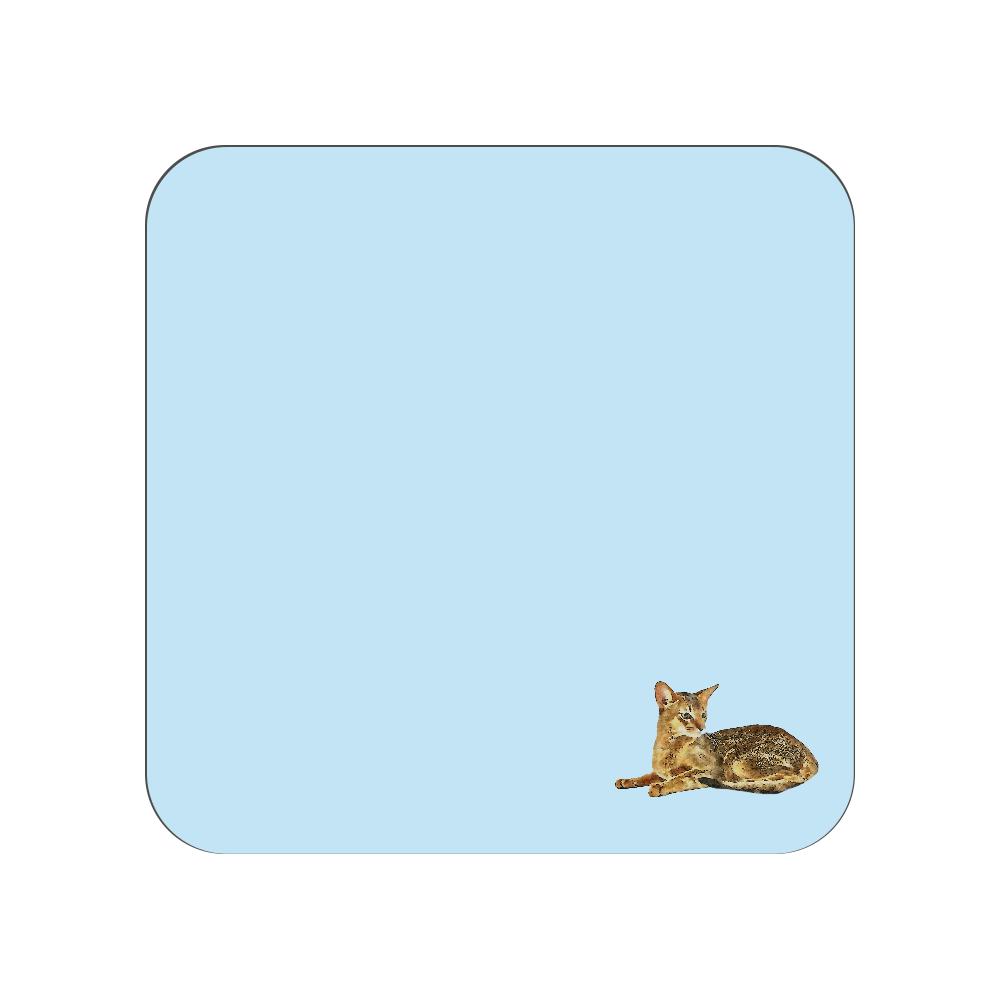 アビシニアン猫のタオルハンカチ ブルー 全面プリントハンカチタオル