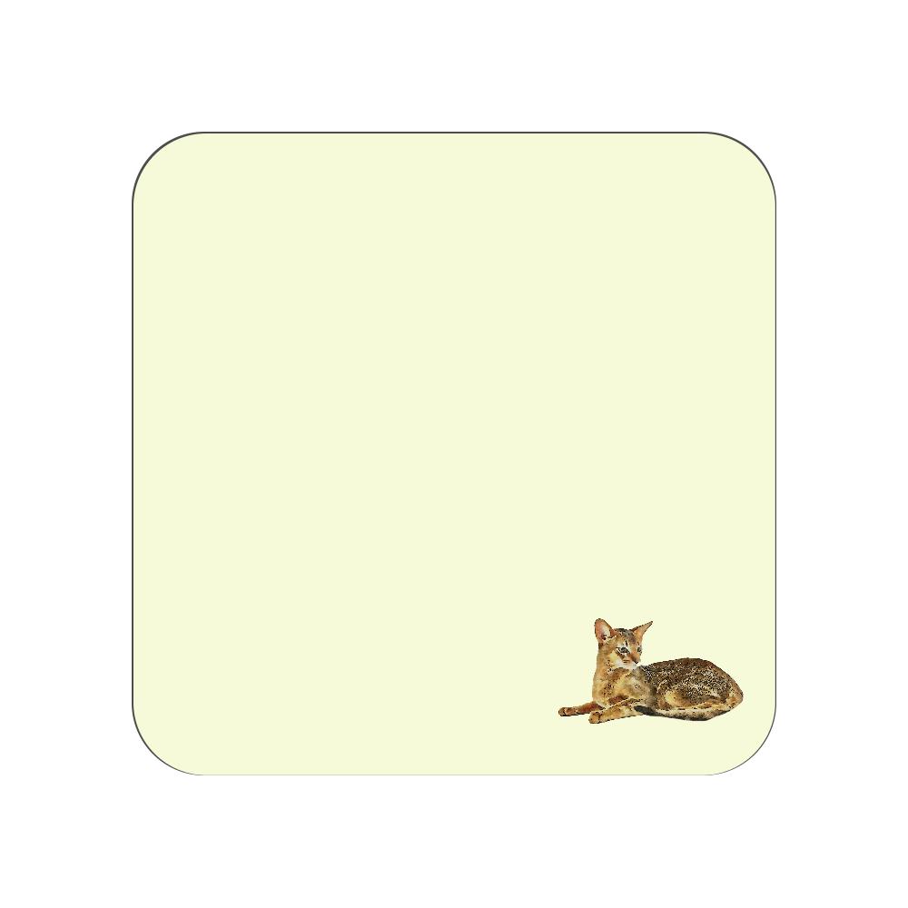 アビシニアン猫のタオルハンカチ イエロー 全面プリントハンカチタオル
