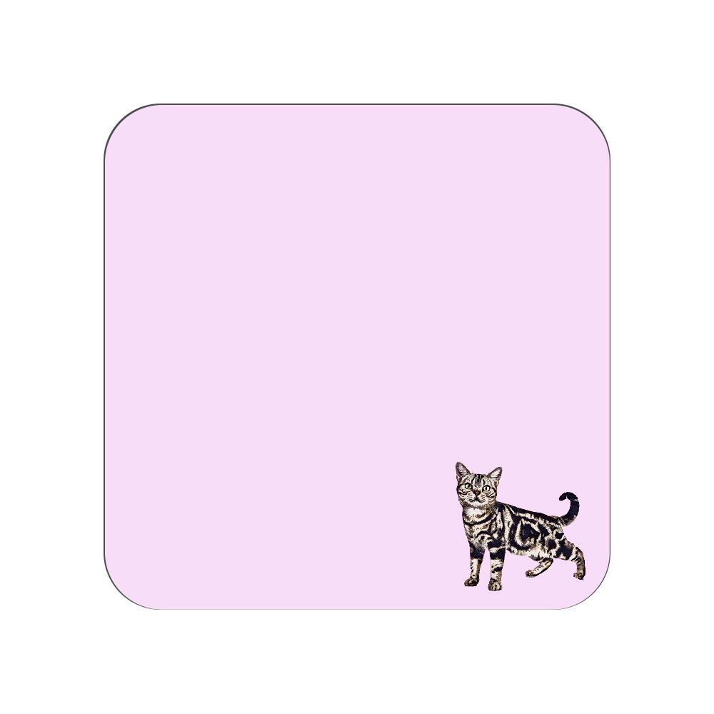 アメリカンショートヘア猫のタオルハンカチ ピンク 全面プリントハンカチタオル