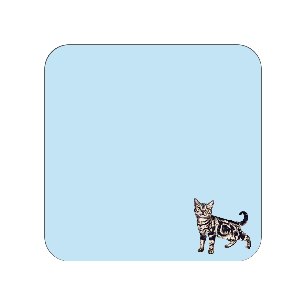 アメリカンショートヘア猫のタオルハンカチ ブルー 全面プリントハンカチタオル