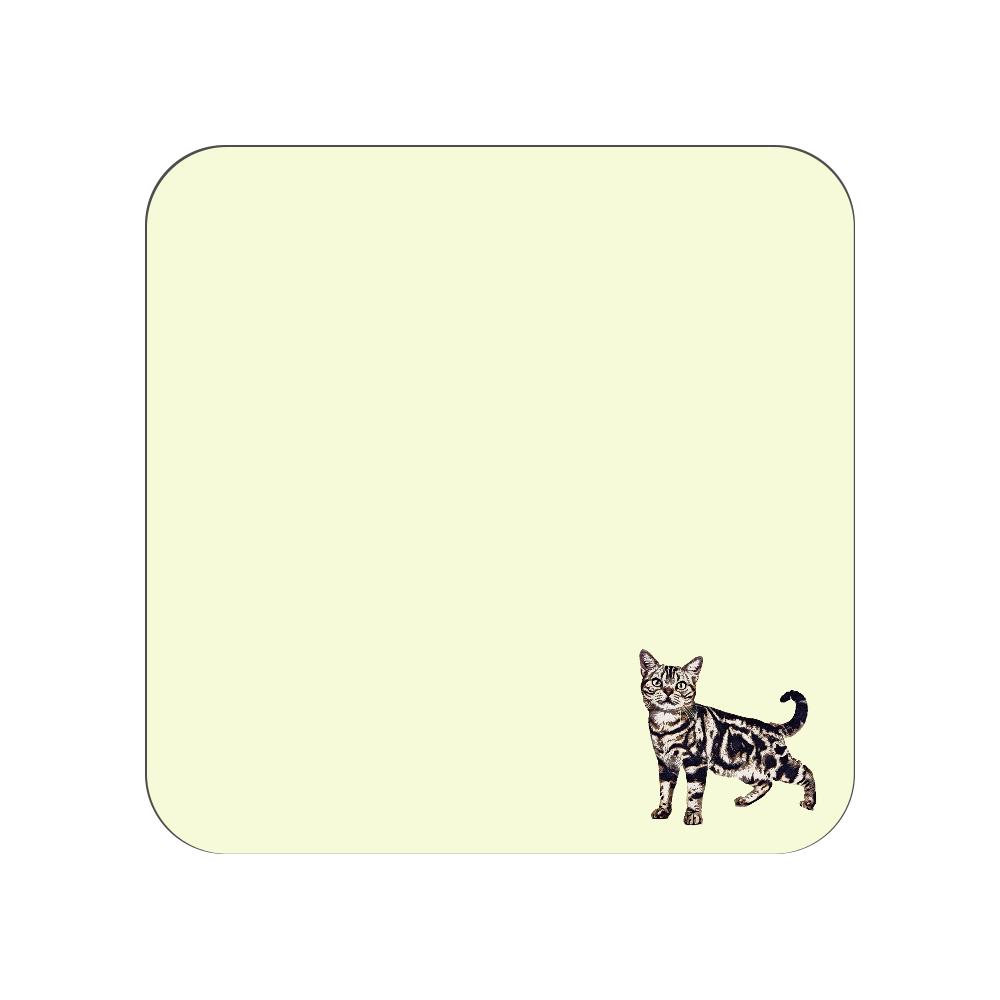 アメリカンショートヘア猫のタオルハンカチ イエロー 全面プリントハンカチタオル