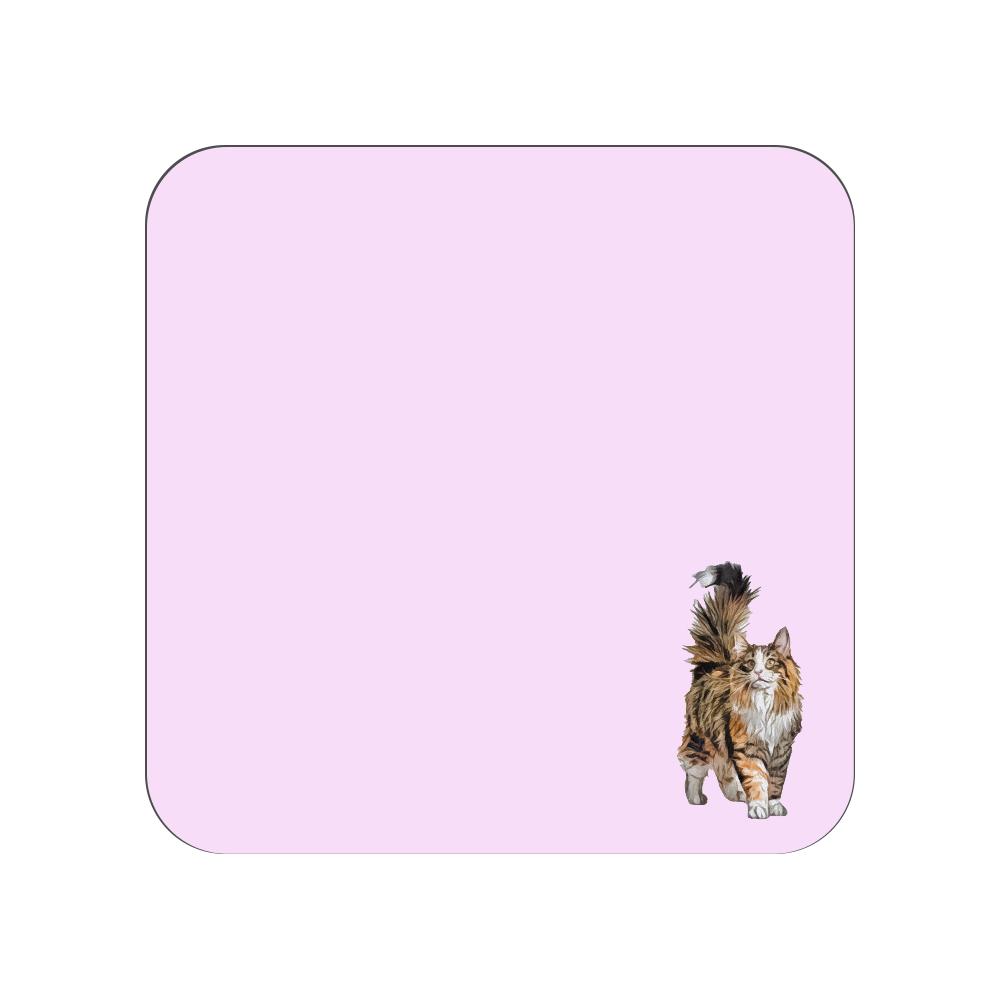 ノルウェージャンフォレストキャットのタオルハンカチ ピンク 全面プリントハンカチタオル