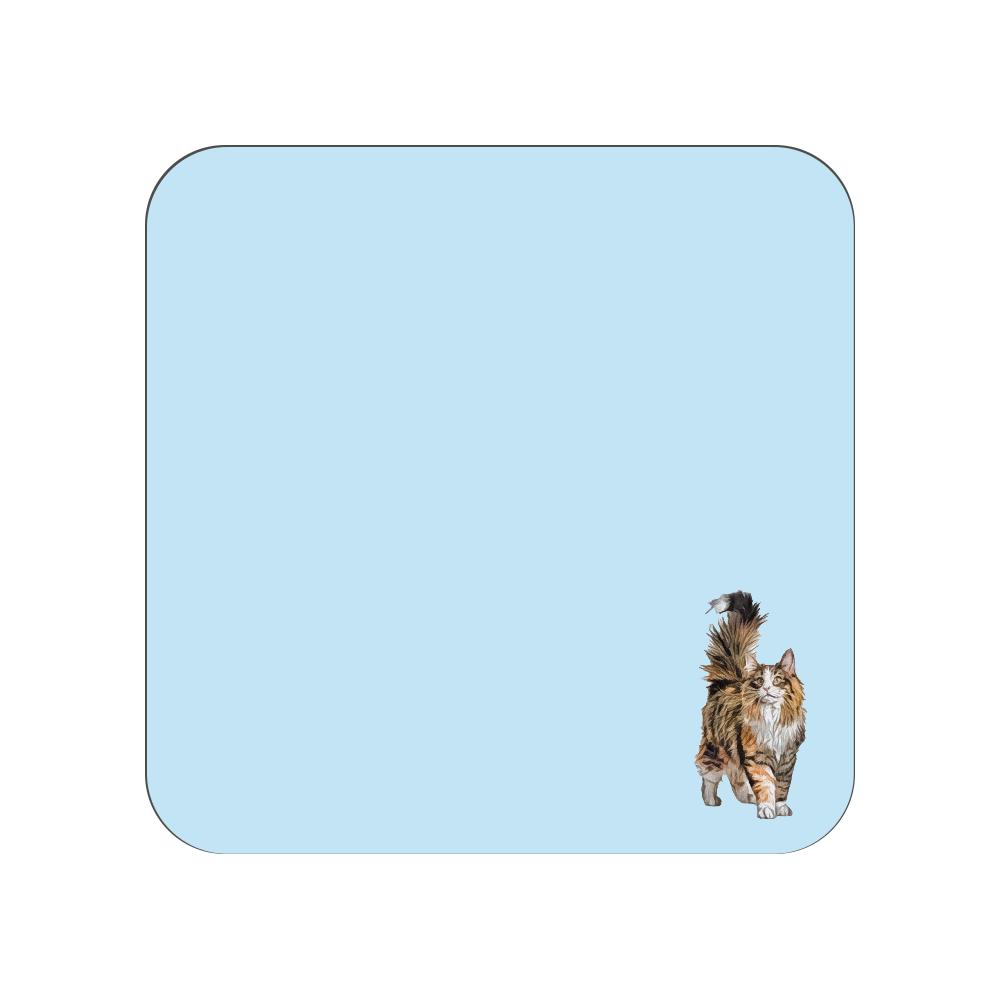 ノルウェージャンフォレストキャットのタオルハンカチ ブルー 全面プリントハンカチタオル