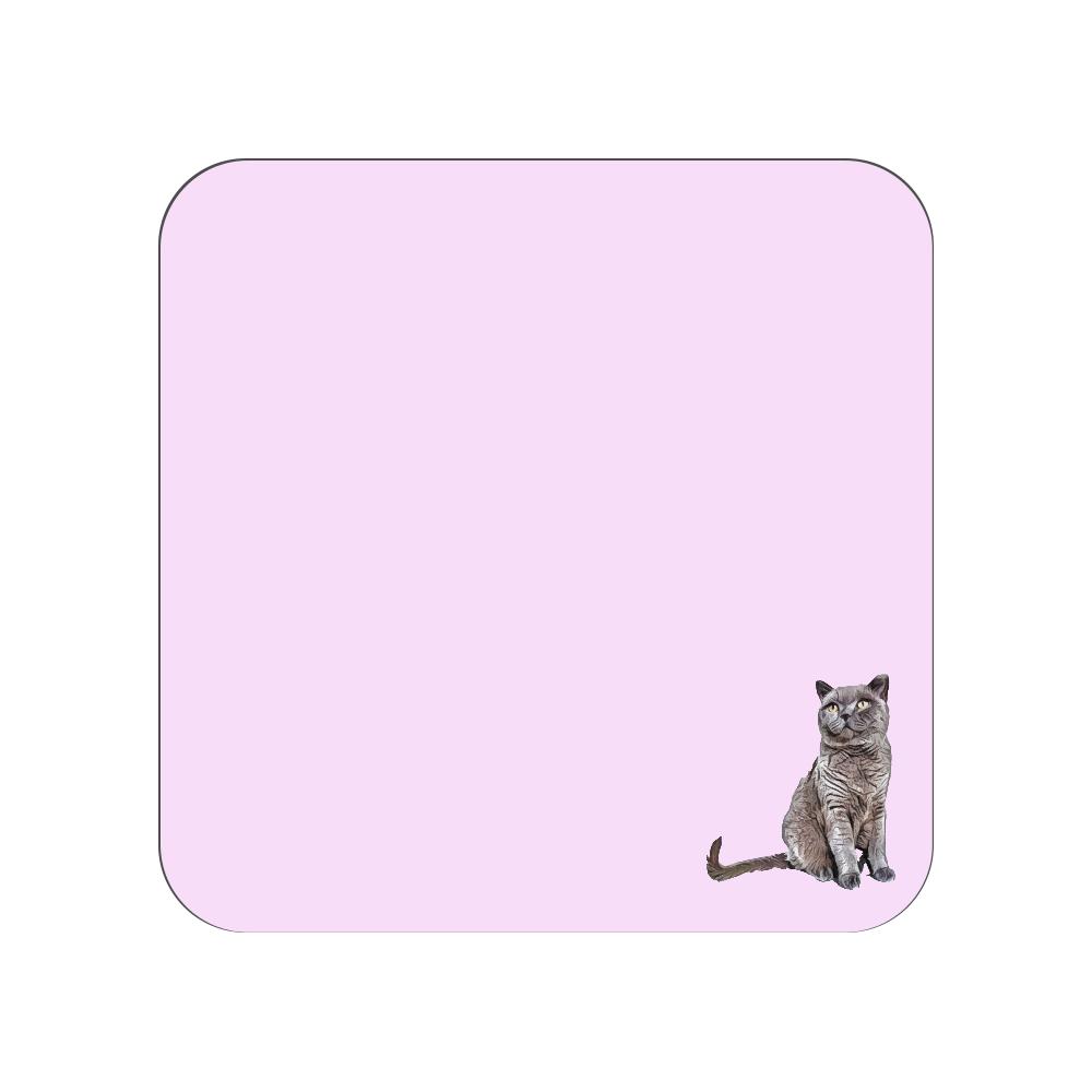 ブリティッシュショートヘアのタオルハンカチ ピンク 全面プリントハンカチタオル