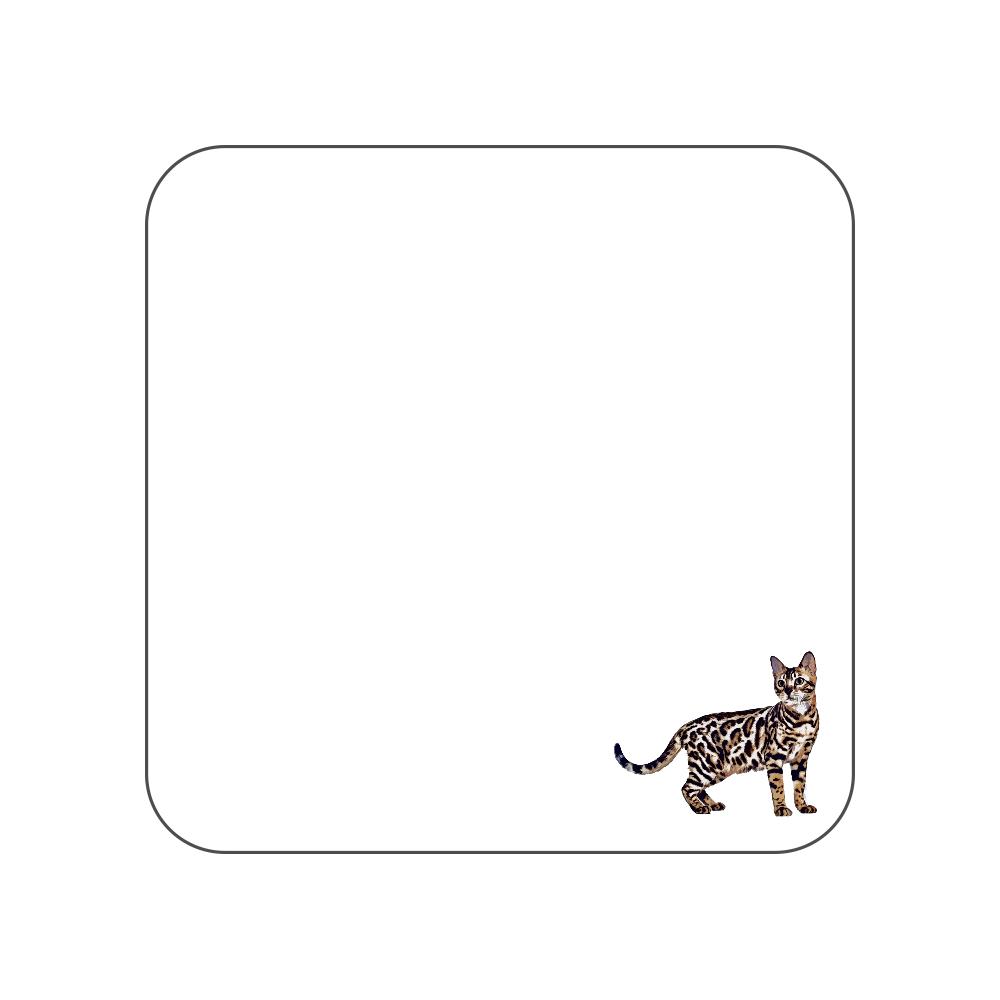 ベンガル猫のタオルハンカチ ホワイト 全面プリントハンカチタオル