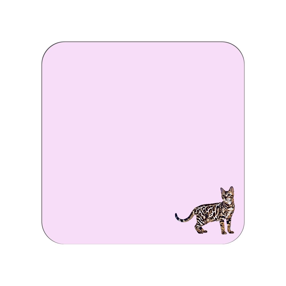 ベンガル猫のタオルハンカチ ピンク 全面プリントハンカチタオル