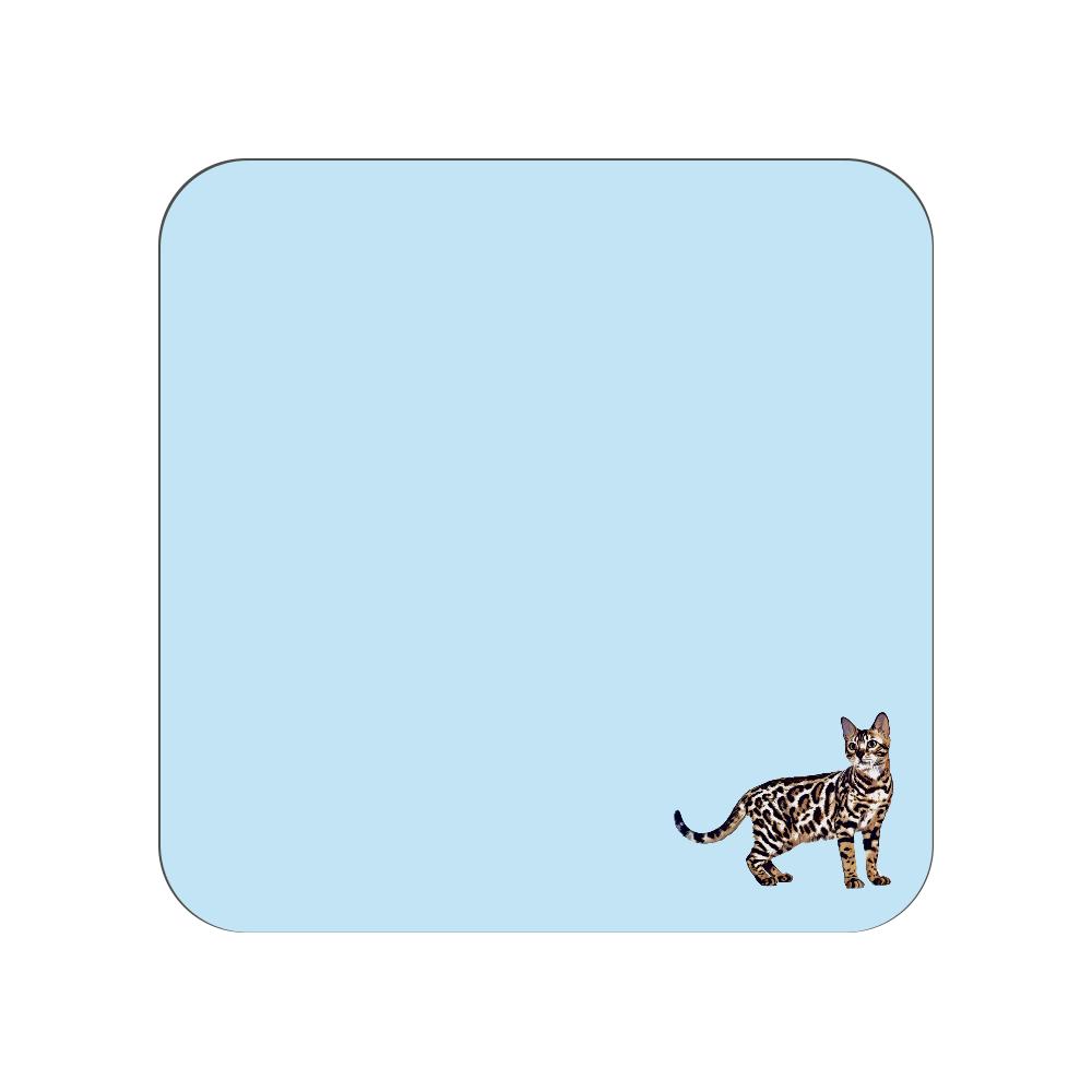 ベンガル猫のタオルハンカチ ブルー 全面プリントハンカチタオル