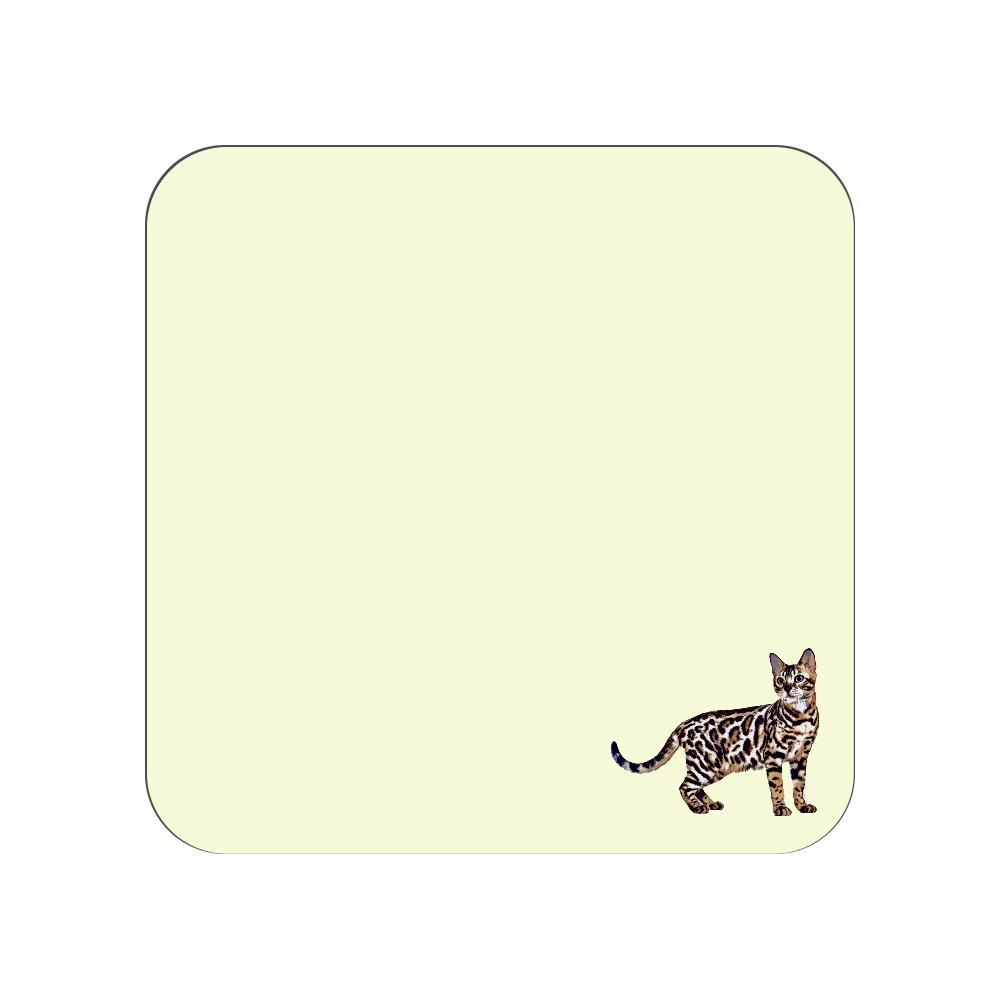 ベンガル猫のタオルハンカチ イエロー 全面プリントハンカチタオル
