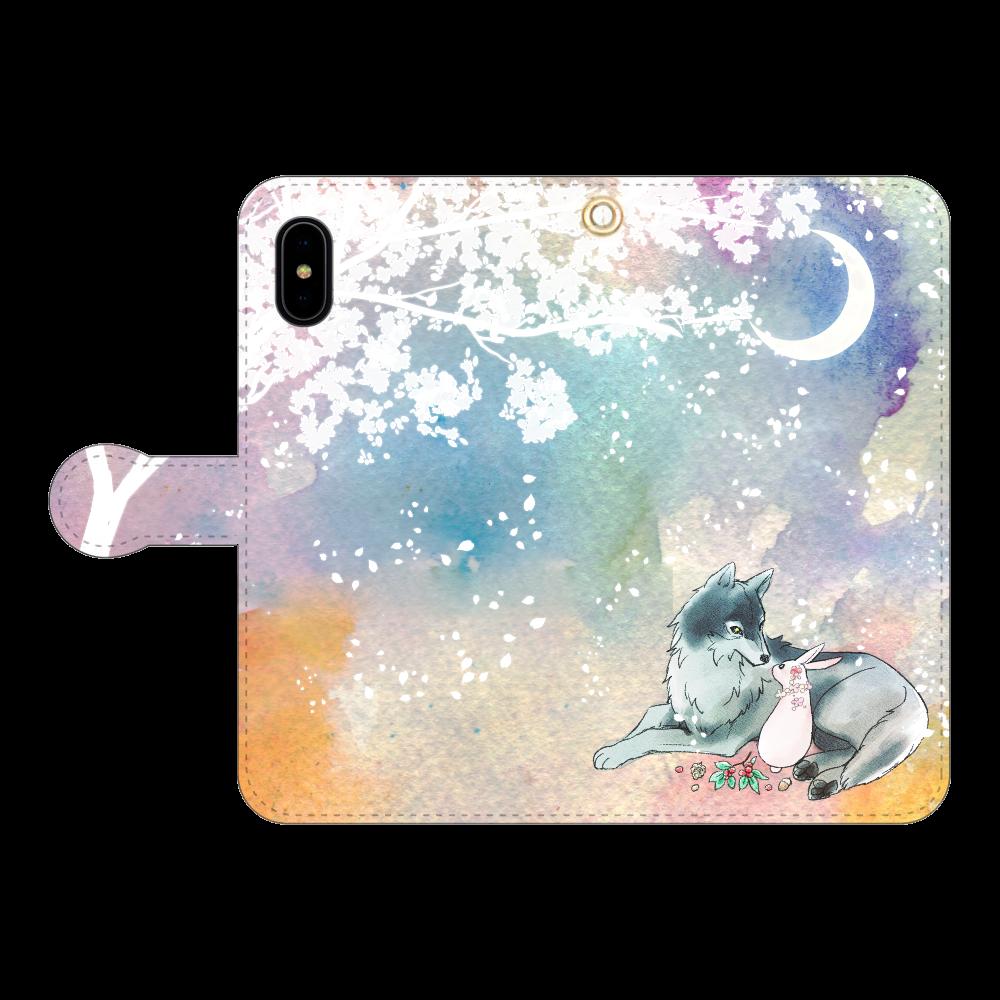 狼とうさぎ iPhoneX/Xs 手帳型スマホケース