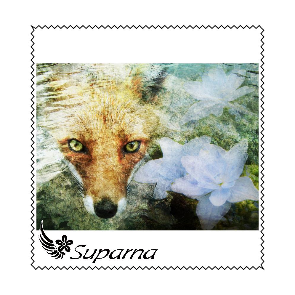 狐と紫陽花 マイクロファイバーメガネ拭き