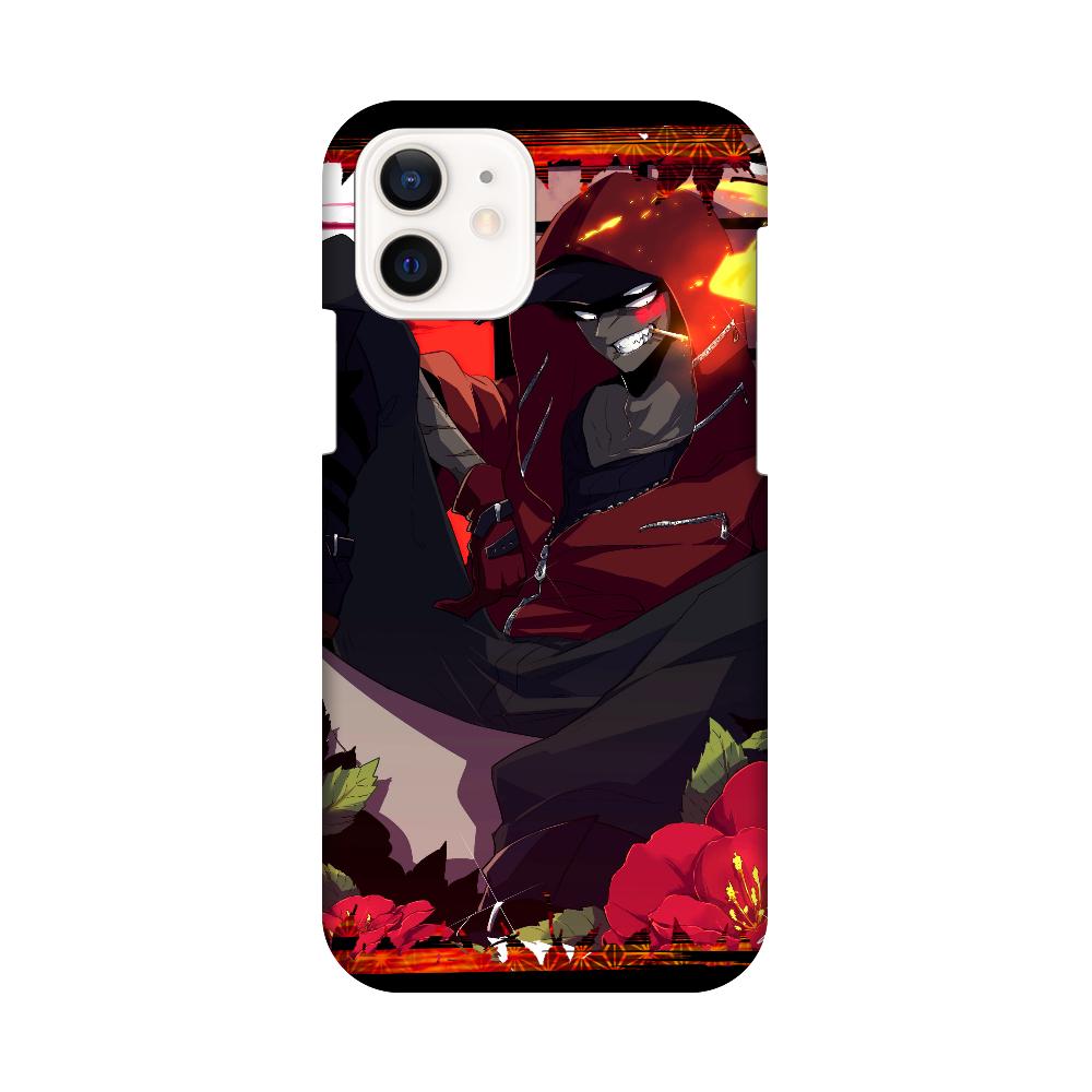 サザンカさんスマホケース黒 iPhone12 / 12 Pro