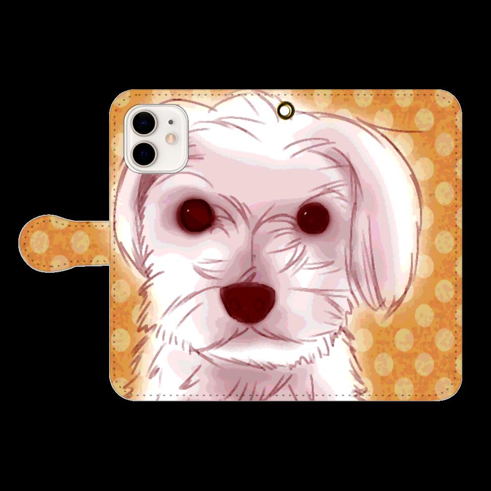 マルチーズ★iPhone12用手帳型スマホケース iPhone12/12pro 手帳型スマホケース