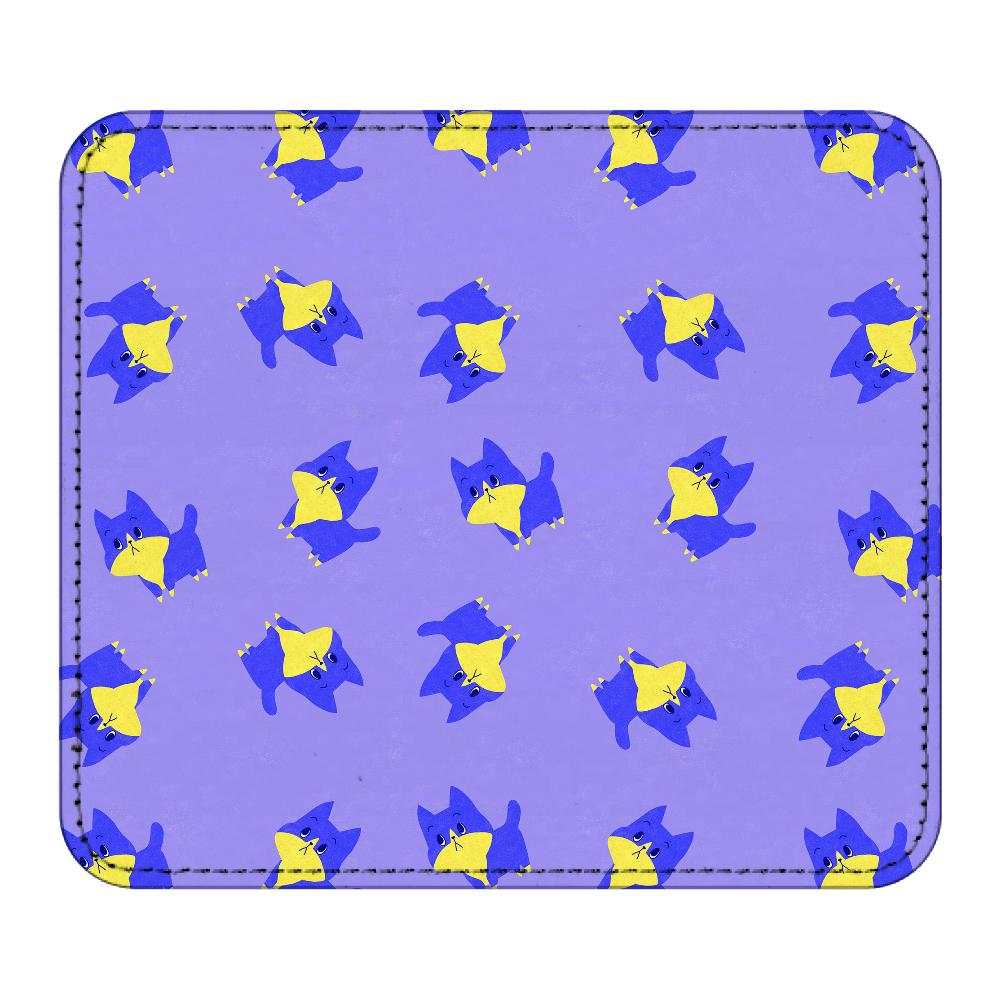 ViViVi Cat's -Blue The Chubby Cat- Purple レザーマウスパッド(スクエア)