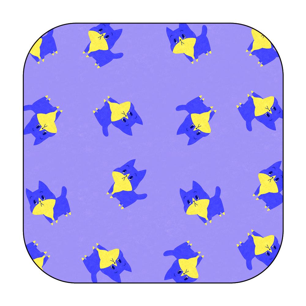 ViViVi Cat's -Blue The Chubby Cat- Purple ワイヤレス充電器スクエア5W
