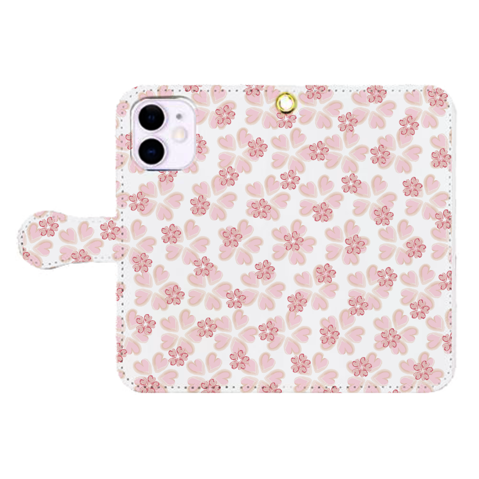 ■オリジナルデザインiPhone手帳型スマホケース■(ピンク色花柄) iPhone12mini 手帳型スマホケース