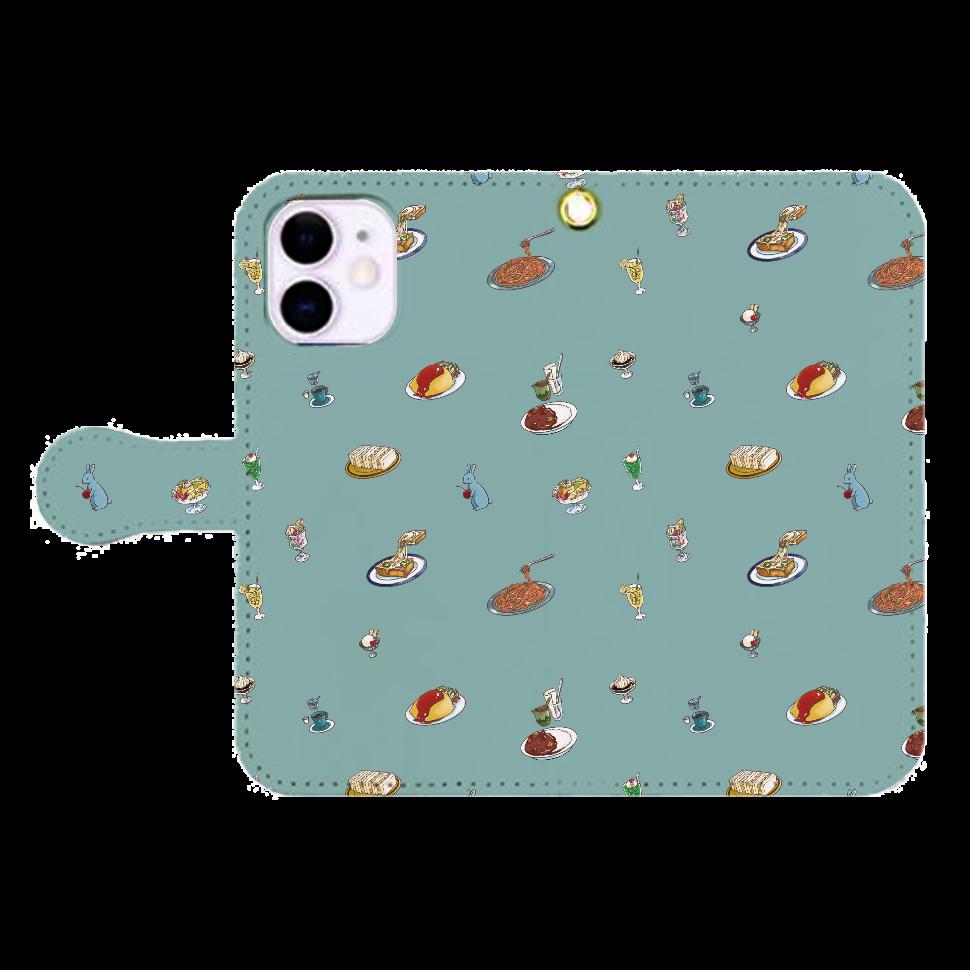 純喫茶ブルーラビット 総柄モチーフのiPhone手帳型ケースGR(iPhone12mini) iPhone12mini 手帳型スマホケース
