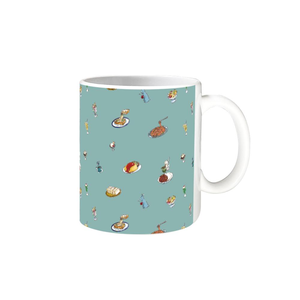 純喫茶ブルーラビット 総柄モチーフのマグカップGR 全面印刷 マグカップ