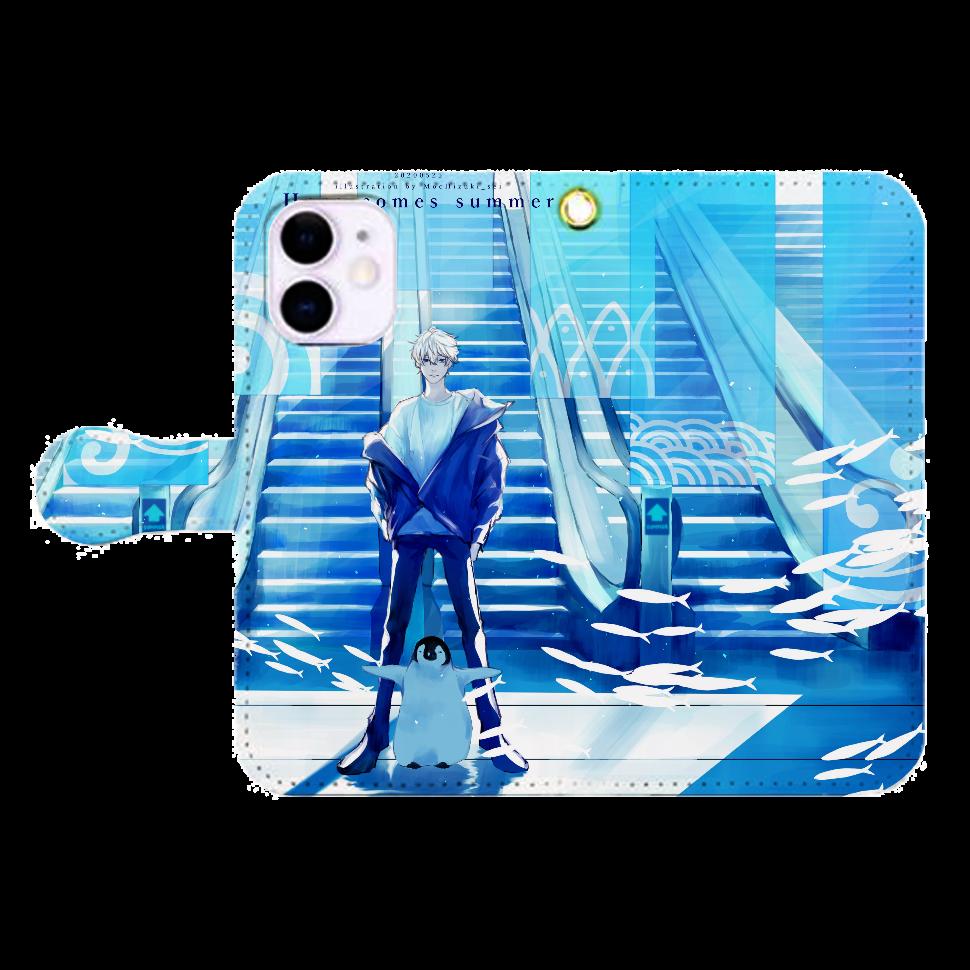 Here comes summer スマホケース iPhone12mini 手帳型スマホケース