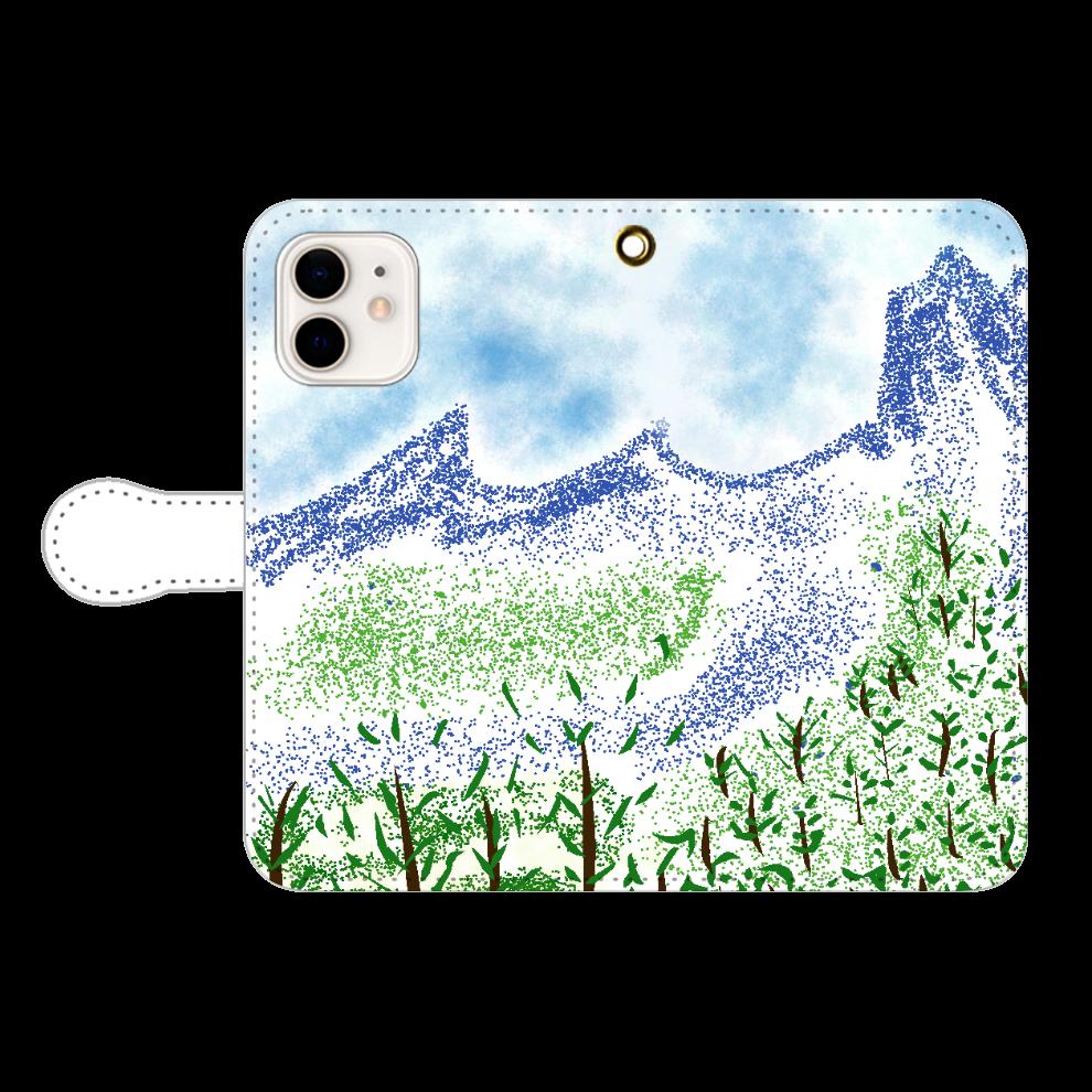 手帳型 iPhone ケース【マイナスイオン感じる山景】 iPhone12/12pro 手帳型スマホケース