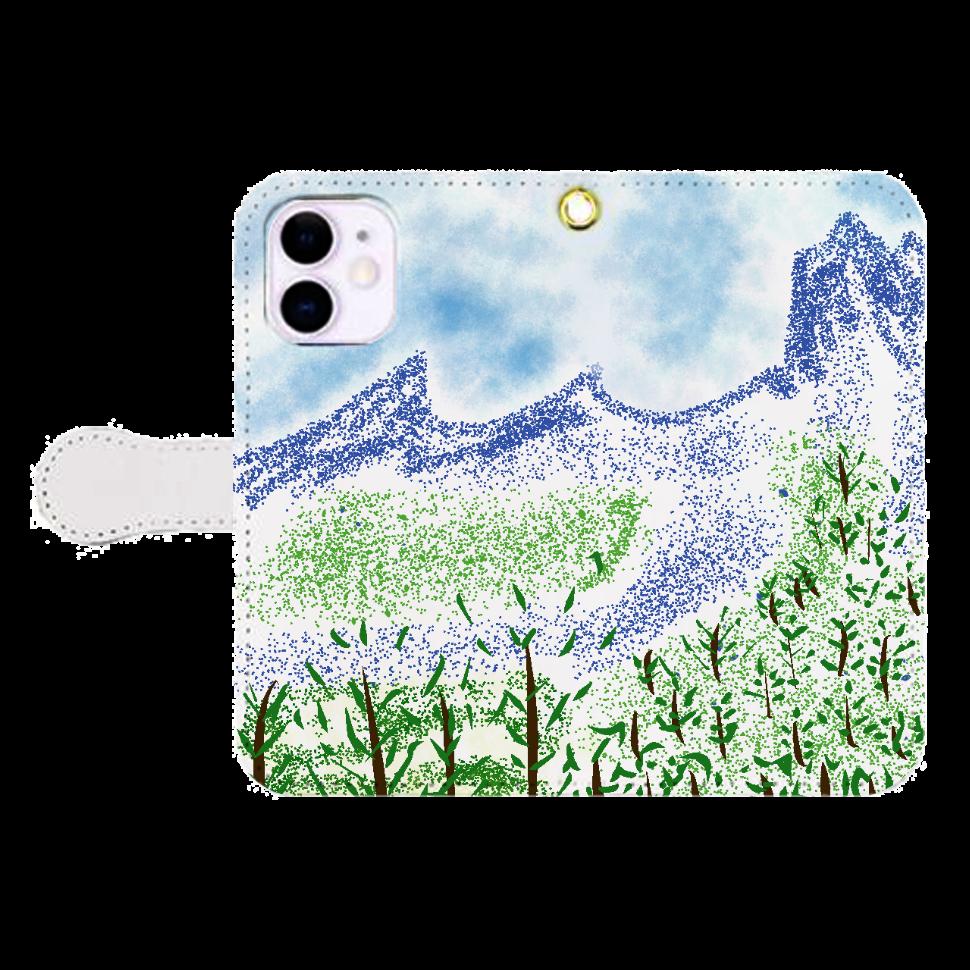 手帳型 iPhone ケース【マイナスイオン感じる山景】 iPhone12mini 手帳型スマホケース