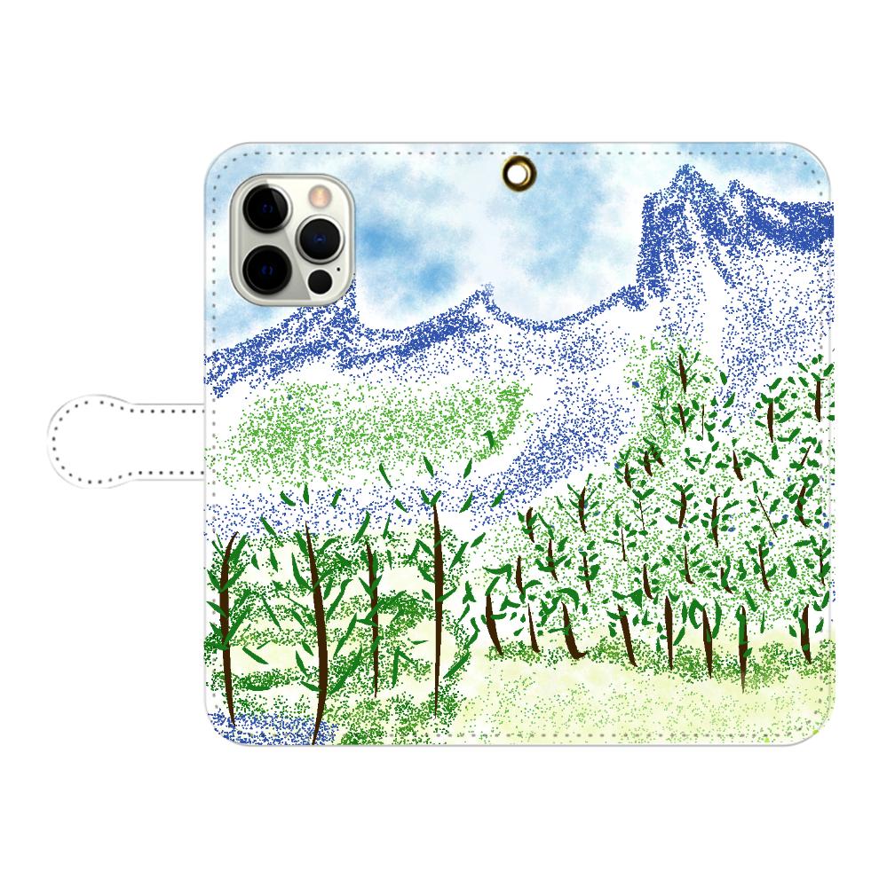 手帳型 iPhone ケース【マイナスイオン感じる山景】 iPhone12pro max 手帳型スマホケース