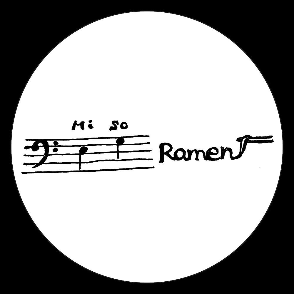 ヘ音記号は味噌(ミソ)がお好きシリーズ②Miso Ramen 白雲石コースター 丸