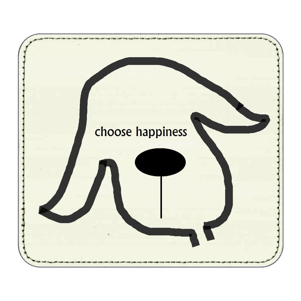 イヌ(choose happiness) レザーマウスパッド(スクエア)
