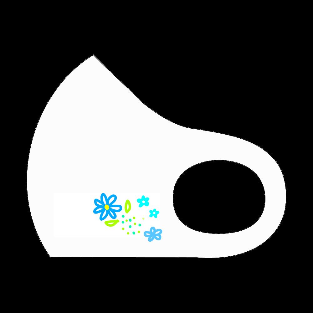 青い花たちのマスク スポーツマスク