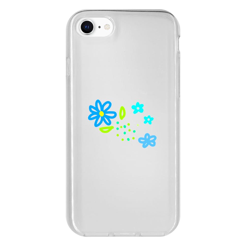 青いお花のスマホケース iPhone 8 抗菌ソフトケース