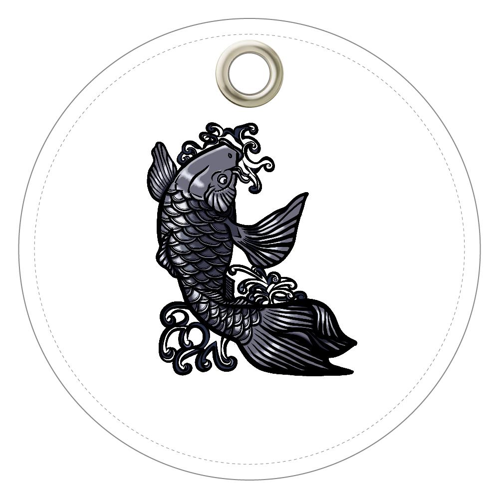 鯉の滝登り 黒 レザーキーホルダー(丸型)