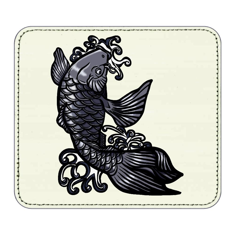 鯉の滝登り 黒 レザーマウスパッド(スクエア)