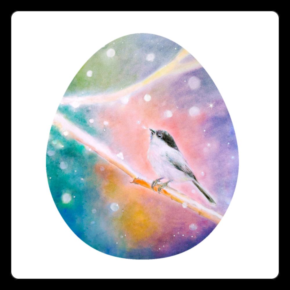 雪のハシブトガラ(たまご型version) 白雲石コースター 四角