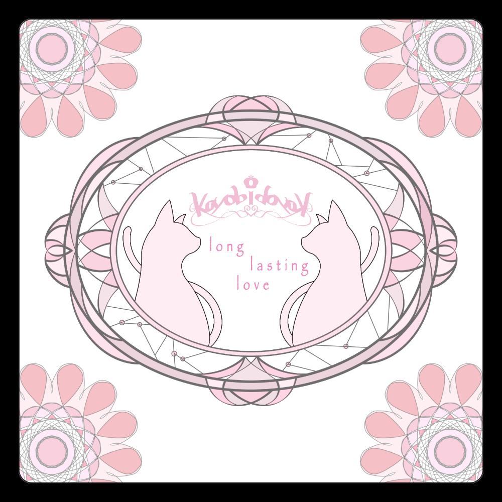 【伽よう日】猫コースター(ピンク) 白雲石コースター 四角