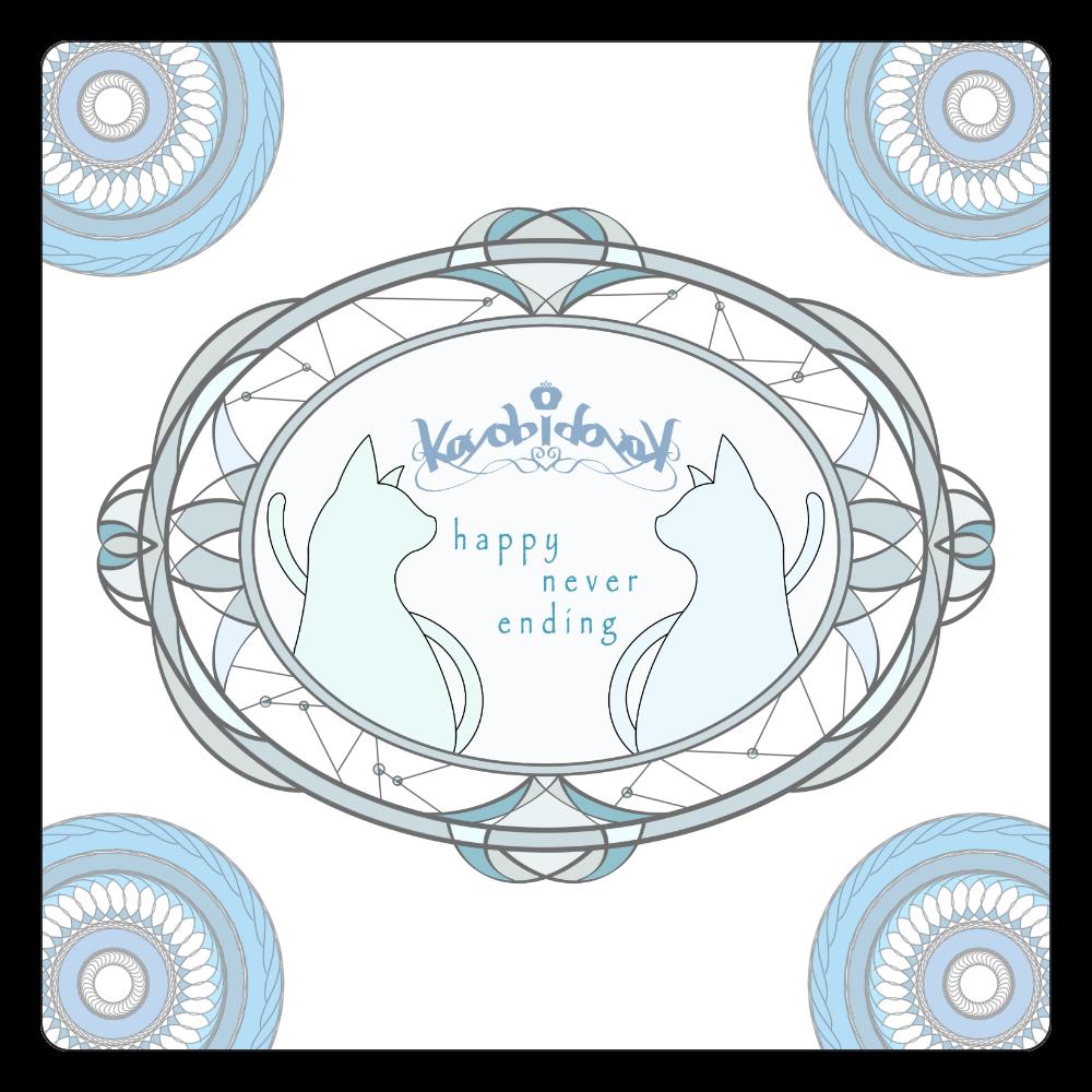 【伽よう日】猫コースター(ブルー) 白雲石コースター 四角