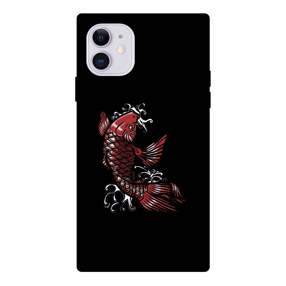 鯉の滝登り 赤 iPhone11 スクエア型強化ガラスケース