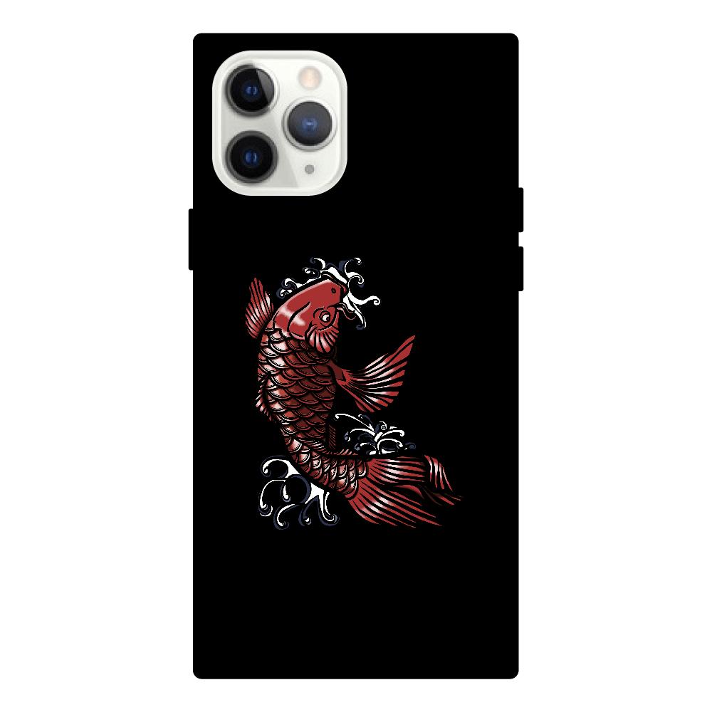 鯉の滝登り 赤 iPhone11 Pro スクエア型強化ガラスケース