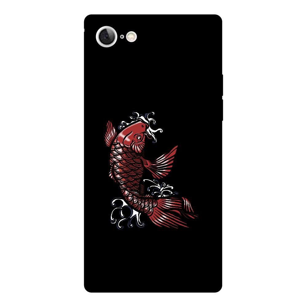 鯉の滝登り 赤 iPhone8 背面強化ガラス(スクエア)