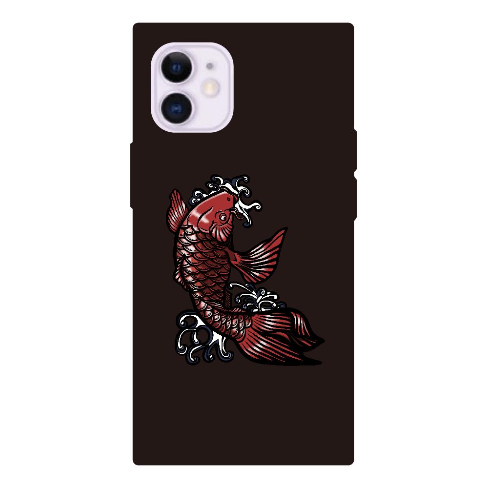 鯉の滝登り 赤 iPhone12mini 背面強化ガラス(スクエア)