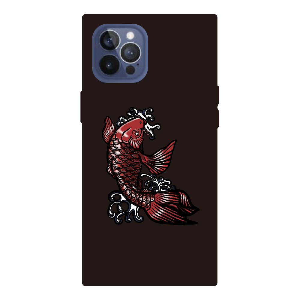 鯉の滝登り 赤 iPhone12pro max 背面強化ガラス(スクエア)