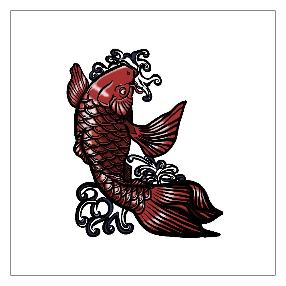 鯉の滝登り 赤 アクリルブロック