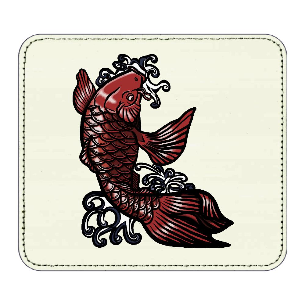 鯉の滝登り 赤 レザーマウスパッド(スクエア)