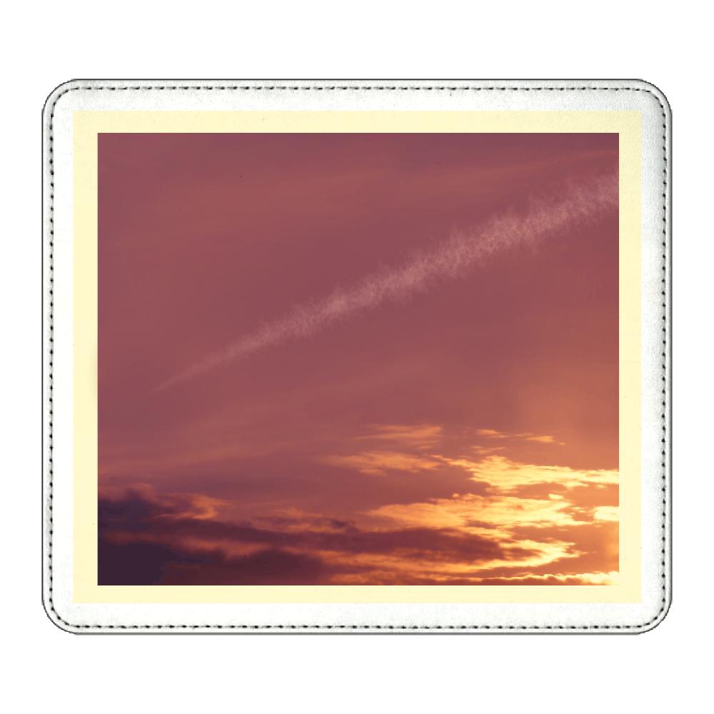 夕焼け空に飛行機雲 マウスパッド