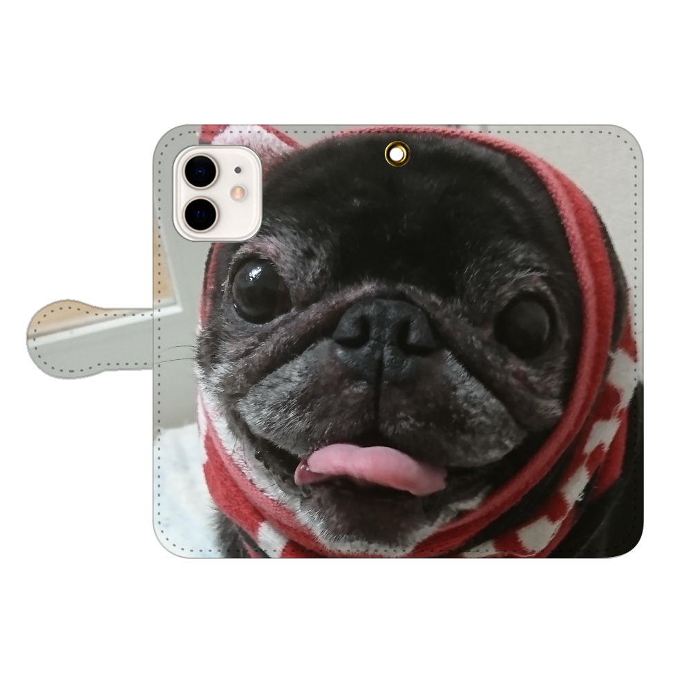 パグ犬たんぼのスマホケース iPhone12/12pro 手帳型スマホケース