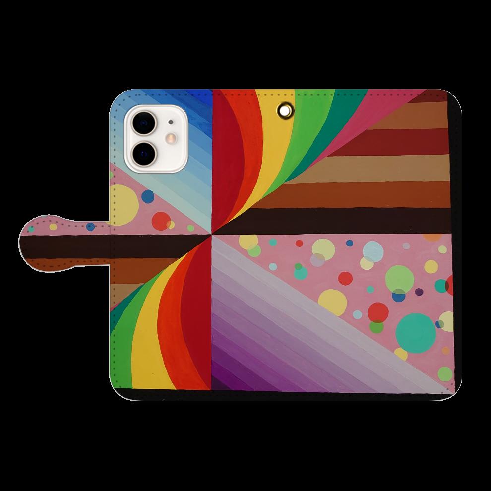 カラフル iPhone12/12pro 手帳型スマホケース
