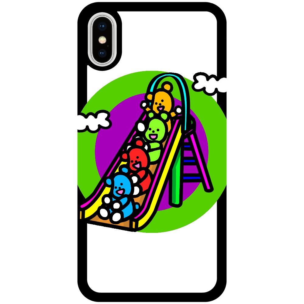 くまの遊び iPhoneX/Xs_プリントパネルラバーケース