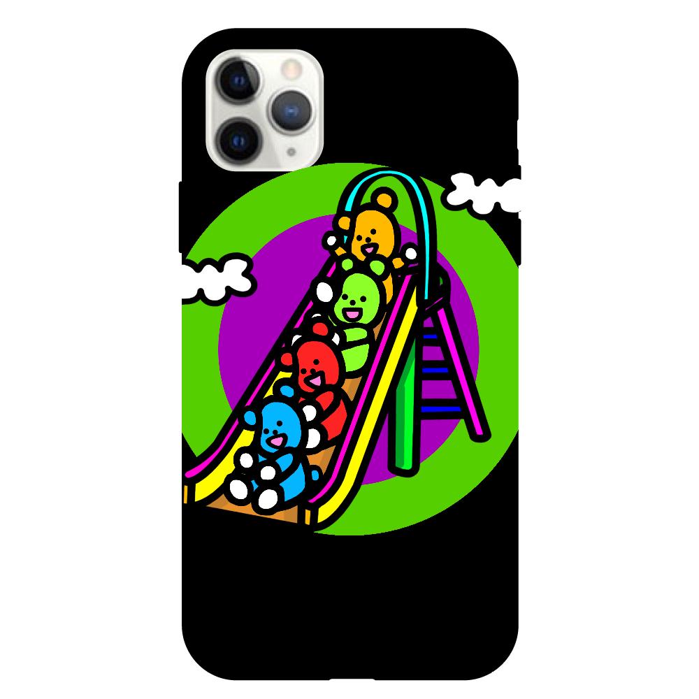 くまの遊び iPhone11proMax クリアパネルラバーケース