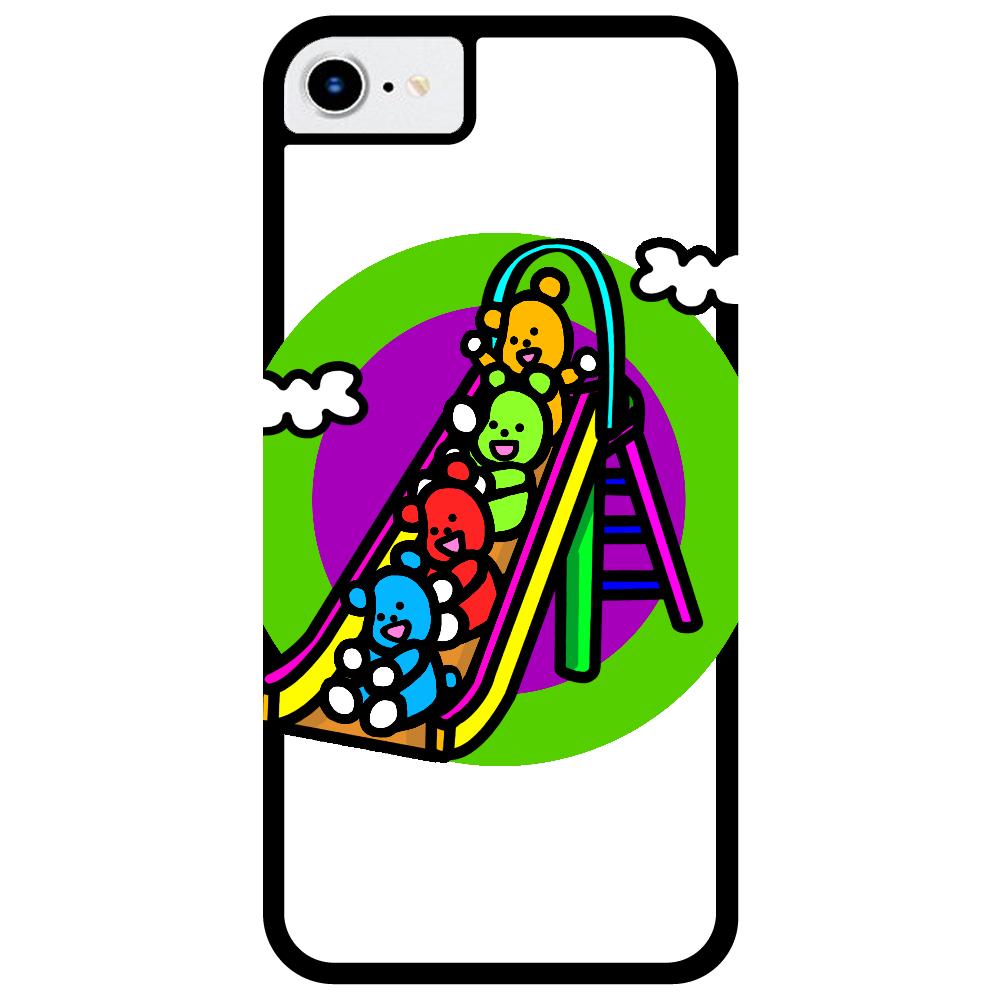 くまの遊び iPhone8_プリントパネルラバーケース