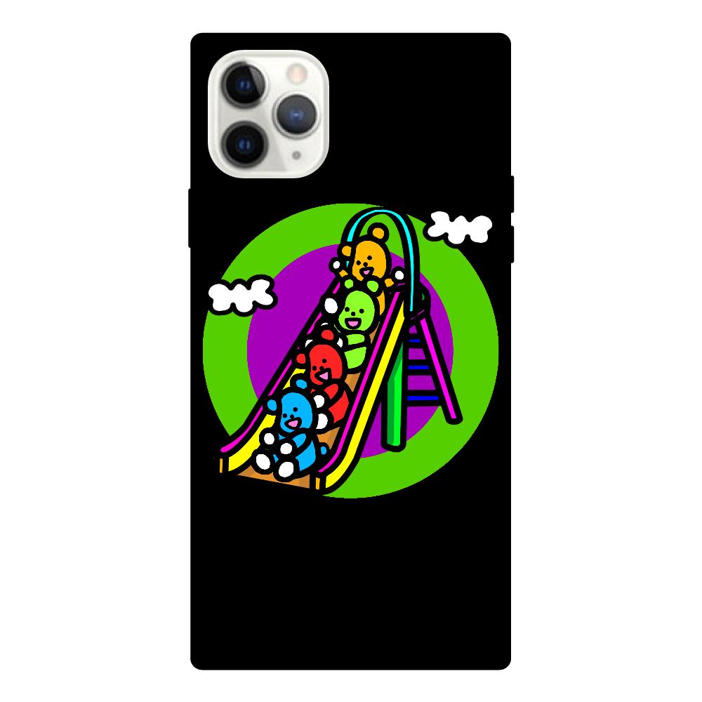 くまの遊び iPhone11 ProMaxスクエア型強化ガラスケース